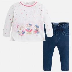 Mayoral komplet 2547-10 z długimi spodniami z dzianiny drapanej dla dziewczynki