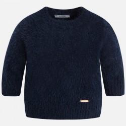 Mayoral sweter 4321-36 Włochaty dla dziewczynki z okrągłym dekoltem