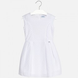 Mayoral Sukienka 6944-30 z zakładkami kolor biały
