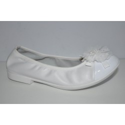 Białe balerinki komiunijne Geox PLIE oddychające J8255B r34-37