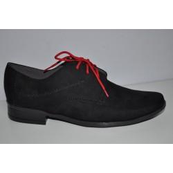 Czarne Buty komunijne dla chłopców 753 dwa kolory sznurówek r30-40