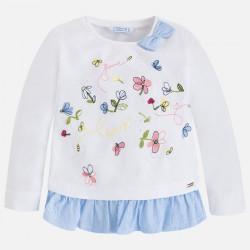Mayoral bluzka 3040-10 z haftem dla dziewczynki