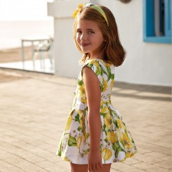 Mayoral Sukienka 3934-57 z satyny i paskiem dla dziewczynki