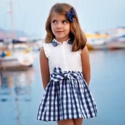 Mayoral Sukienka 3966-75 z dołem vichy dla dziewczynki