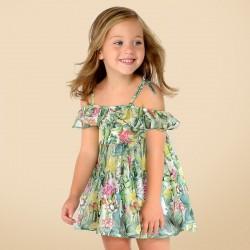 Mayoral Sukienka 3992-08 z szyfonu na ramiączkach dla dziewczynki