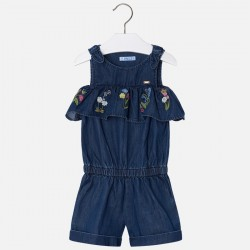 Mayoral kombinezon 3802-05 dziewczęcy z krótkimi spodniami i haftowaną falbanką