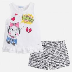 Mayoral komplet 3236-78 dziewczęcy z szortami i koszulką z falbanką