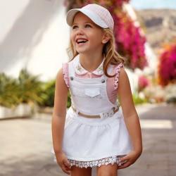 Mayoral Bluzka 3102-28 polo dla dziewczynki z haftowanym kołnierzem
