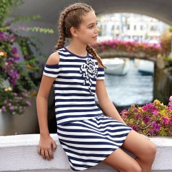 813048182d Mayoral Sukienka 6940-20 w paski z gładkiej dzianiny dla dziewczynki ...