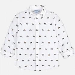 Mayoral koszula 4146-75 biała z długim rękawem we wzorki dla chłopca