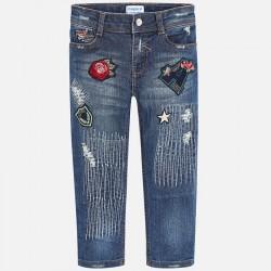 Mayoral spodnie 4556-70 jeansowe slim fit z naszywkami dla dziewczynki