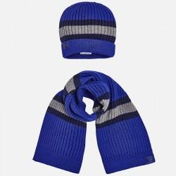 Mayoral komplet 10483-69 czapka i szalik w paski dla chłopca kolor meteoryt