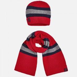 Mayoral komplet 10483-68 czapka i szalik w paski dla chłopca kolor czerwony