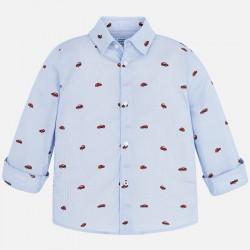 Mayoral koszula 4146-74 błękitna z długim rękawem we wzorki dla chłopca