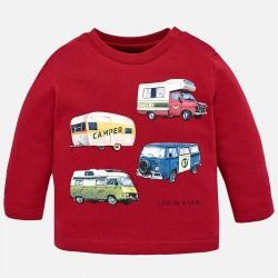 Mayoral bluzka 2028-62 z długim rękawem z pojazdami dla chłopca