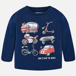 Mayoral bluzka 2028-64 z długim rękawem z pojazdami dla chłopca