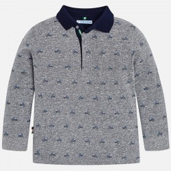 Mayoral bluzka 4104-92 polo z długim rękawem we wzorki dla chłopca