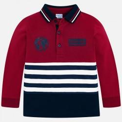 Mayoral bluzka 4110-29 polo z długim rękawem łączona dla chłopca