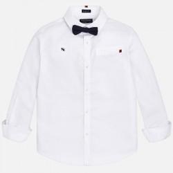 Mayoral Koszula 7136-50 biała z długim rękawem i muszką