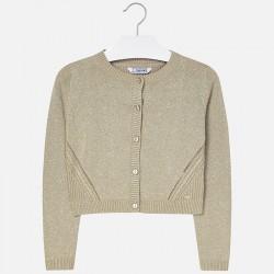 Mayoral sweterek 326-73 Trykotowy rozpinany z okrągłym dekoltem dla dziewczynki kolor norka