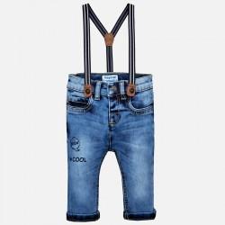 Mayoral Spodnie 2564-92 jeansowe slim fit z szelkami dla chłopca