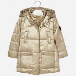 Mayoral płaszcz 4429-10 Długa pikowana kurtka z kapturem dla dziweczynki