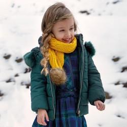 Mayoral płaszcz 4437-74 Długa kurtka z kapturem z futerkiem dla dziewczynki