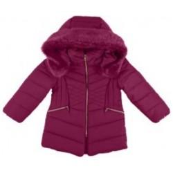 Mayoral płaszcz 4437-75 Długa kurtka z kapturem z futerkiem dla dziewczynki