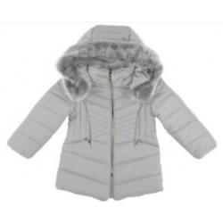 Mayoral płaszcz 4437-77 Długa kurtka z kapturem z futerkiem dla dziewczynki