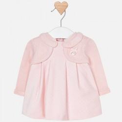 Mayoral sukienka 2838-53 w groszki ze sweterkiem dla dziewczynki