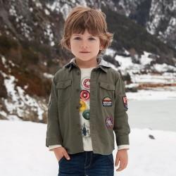 Mayoral Koszula 4150-69 z długim rękawem i naszywkami dla chłopca