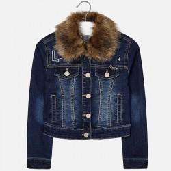 Mayoral Kurtka 7468-21 jeansowa kurtka z futerkowym kołnierzem dla dziewczynk1