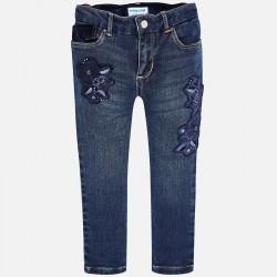 Mayoral Spodnie 4546-26 jeansowe regular fit z haftem dla dziewczynki