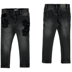 Mayoral Spodnie 4546-27 jeansowe regular fit z haftem dla dziewczynki
