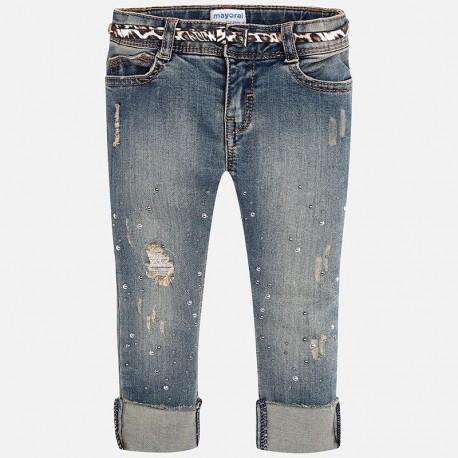 Mayoral spodnie  4542-84 Długie jeansowe z paskiem dla dziewczynki regular fit