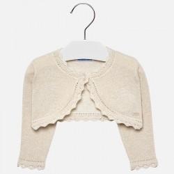 Mayoral sweterek 308-25 bolerko trykotowe z długim rękawkiem kolor szampan