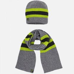 Mayoral komplet 10483-67 czapka i szalik w paski dla chłopca kolor popiel vig