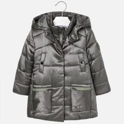 Mayoral płaszcz 4429-11 Długa pikowana kurtka z kapturem dla dziweczynki