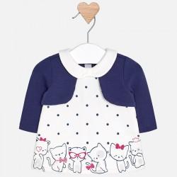 Mayoral Sukienka 2818-40 w groszki z rozpinanym sweterkiem