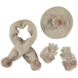 Mayoral Komplet 10505-29 czapka szalik rękawiczki kolor norka