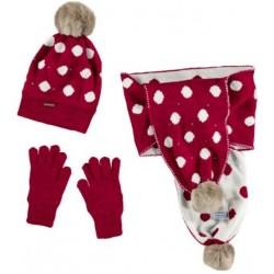 Mayoral komplet 10507-64 czapka, szalik, rękawiczki kolor czerwony
