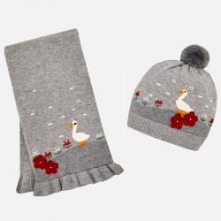 Mayoral Komplet 10460-82 czapka i szalik z gęsią dla dziewczynki