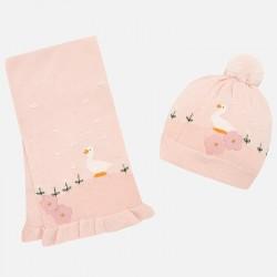 Mayoral Komplet 10460-83 czapka i szalik z gęsią dla dziewczynki