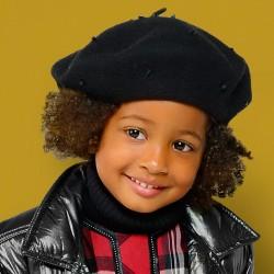 Mayoral Beret 10510-64 czarny z ozdobami dla dziewczynki