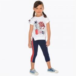 Komplet Mayoral 3707-89 Komplet koszulka i leginsy z bocznym paskiem dla dziewczynki