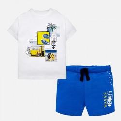 Komplet Mayoral 1645-40 Komplet koszulka z bermudami Waves dla chłopca Baby
