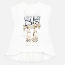 Bluzka Mayoral 6009-27 Koszulka z krótkim rękawem z falbankami na plecach dla dziewczyny