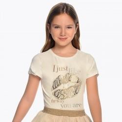 Bluzka Mayoral 6012-74 Koszulka z krótkim rękawem z nadrukiem ust dla dziewczyny