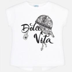 Bluzka Mayoral 6017-15 Koszulka z krótkim rękawem z napisem Dolce Vita dla dziewczyny