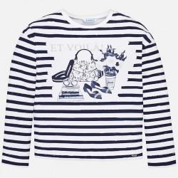 Bluzka Mayoral 6021-72 Koszulka z długim rękawem w paski dla dziewczyny